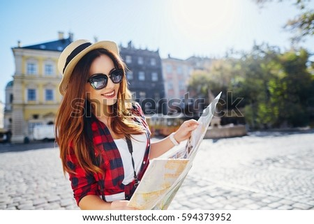 Happy Tourist Girl Brown Hair Wearing Stock Photo (Edit Now ... 455ffcad866e