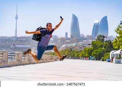 happy tourist take selfie photo in Baku, Capital of Azerbaijan. Travelling in Caucasus country