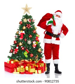 happy traditional santa claus christmas tree isolated on white background