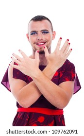 Happy transvestite man dressed as woman, isolated on white background.