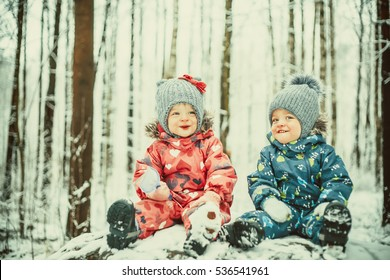 Happy twin kids boy and girl in winter snowy winter park