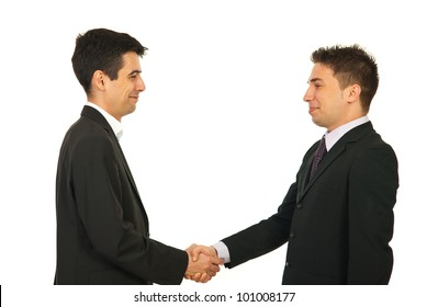 Happy two business men giving hand shake and smiling isolated onw hite background