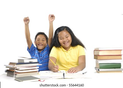 Happy Two children reading on a over white background