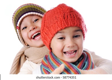 happy two children, winter cold clothes