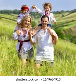 happy Ukrainian family at the  outdoor