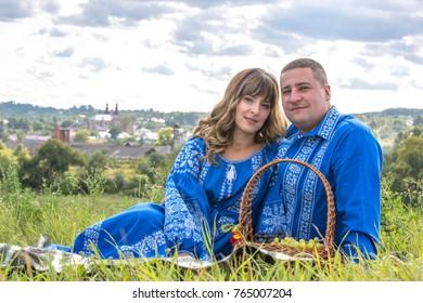 Happy ukrainian family in traditional costumes Hvizdets, Ivano-Frankivsk State / Ukraine - 08.24.2017