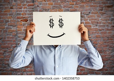 Happy unrecognizable employee in salary pay day