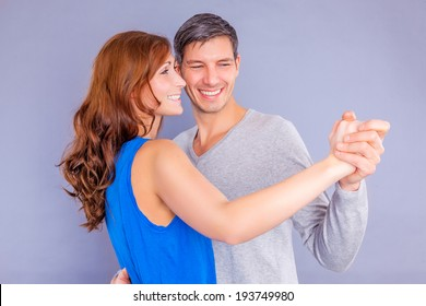 happy valentine dancing couple isolated