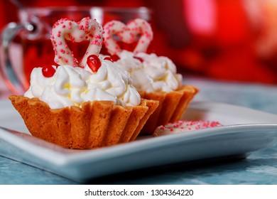 Happy Valentine day capcake with heart