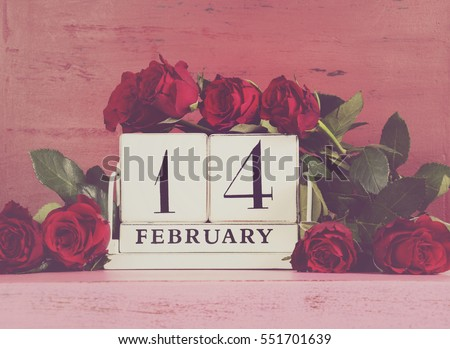 Happy Valentine Day Vintage Wood Calendar Stock Photo (Edit