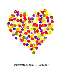 Happy Valentine Day! Watercolor painted heart,  element for your lovely design.Watercolor illustration for your card or poster. Colorful watercolor heart on a white background.