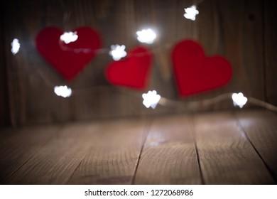 Happy Valentine Day in Wood background