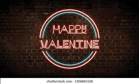 Happy valentine neon sign