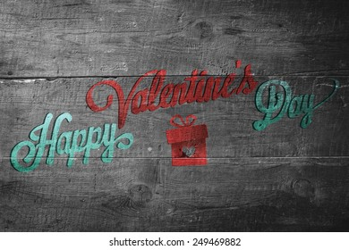 Happy valentines day against overhead of wooden planks