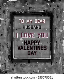 Happy Valentines Day Card to Husband abstract illustration text with frame