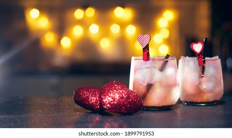 happy valentine's day concept, bar cocktails for lovers on the bar counter copies space