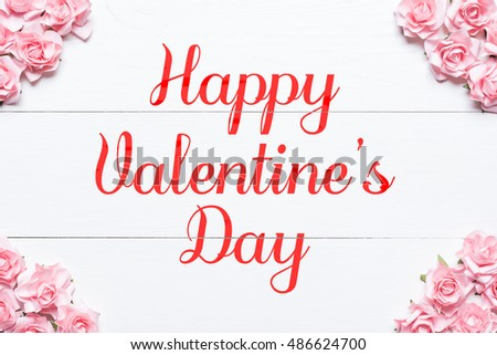 Happy Valentines Day Concept Pink Roses Stock Photo Edit Now