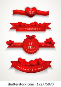 Happy Valentines Day concept with stylish red ribbons on grey background.
