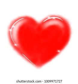 Happy Valentine's Day design with heart shape, hand drawn art