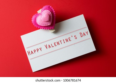 Happy valentine's day greeting card on red color background