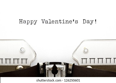 Happy Valentine's Day greeting printed on an old typewriter