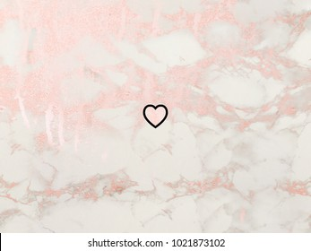 Happy Valentine's day. Heart symbol on pink marble background.