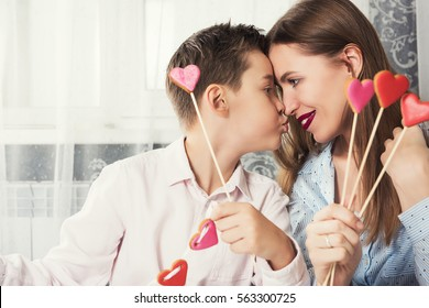 Mom Teaches Little Daughter Do Makeup Stock Photo (Edit Now ...