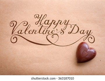 Happy Valentine's Day note with chocolate heart