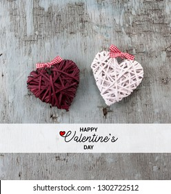 Happy Valentine's day Retro top view card, wooden decorative objects, Love background