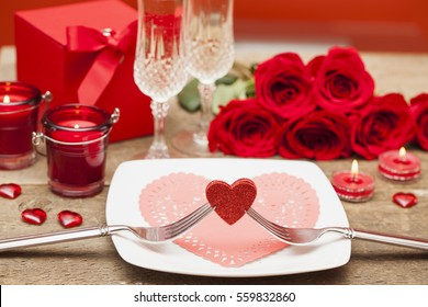 Happy Valentines day. Table setting for love romantic dinner