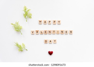 Happy Valentine's day words on white marble background