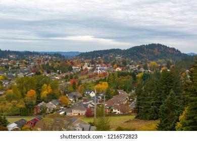 Happy Valley Oregon suburban residential neighborhood by Mount Talbert during fall season