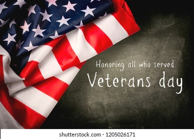 Happy Veterans Day with American flag