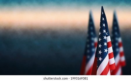 Happy Veterans Day background, American flags against a blue fog background, November 11, American flag Memorial Day, 4th of July, Labour Day, Independence Day.