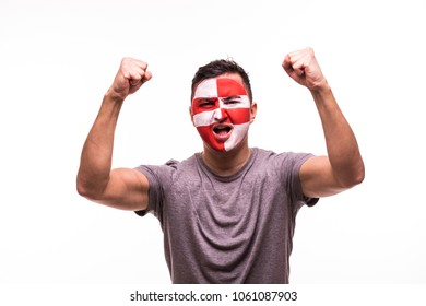 Happy victory scream man fan support Croatia national team with painted face isolated on white