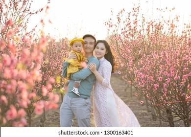 Happy Vietnamese family in peach flower garden in Hanoi, Vietnam