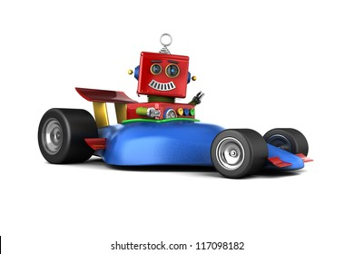 Happy vintage toy robot in a race car