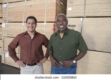 Happy warehouse workers