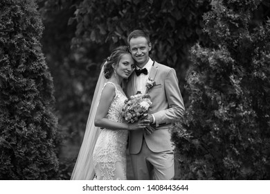 Happy wedding couple. Black and white Portrait of Bride and Groom