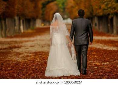 Happy wedding couple walking in park together