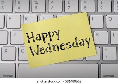 """Happy Wednesday"" on Notepad"