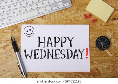 """""""Happy Wednesday"""" Word on Office Workplace"""