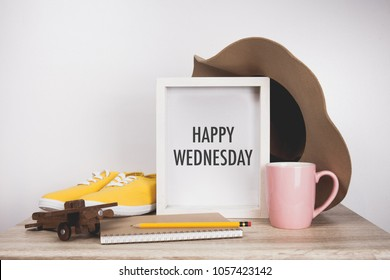 Happy wednesday word with White frame mockup