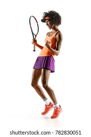 Happy winner. Photo of young tennis girl holding racket and gesturing in silhouette isolated on white background. Strength and motivation