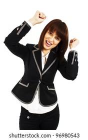 Happy winner. success business woman celebrating screaming and dancing of joy winning. Isolated on white background.