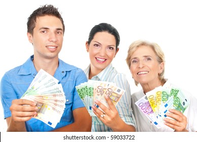 Happy winners people standing in a row and holding money  isolated on white background