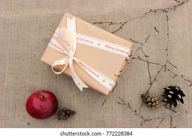 Happy winter holiday theme. Cute christmas gift. Vintage concept for Xmas presents geeving