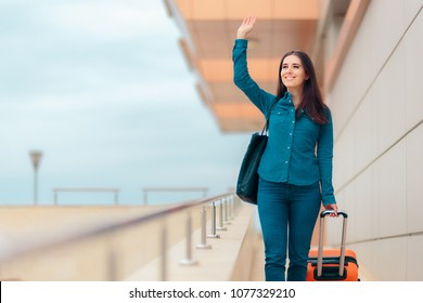 Happy Woman At Airport Station with Suitcase. Travel girl arriving at the her holidays destination