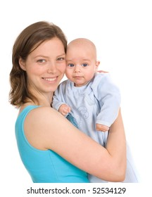 Happy woman with baby on the white background