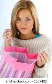 happy woman with bags